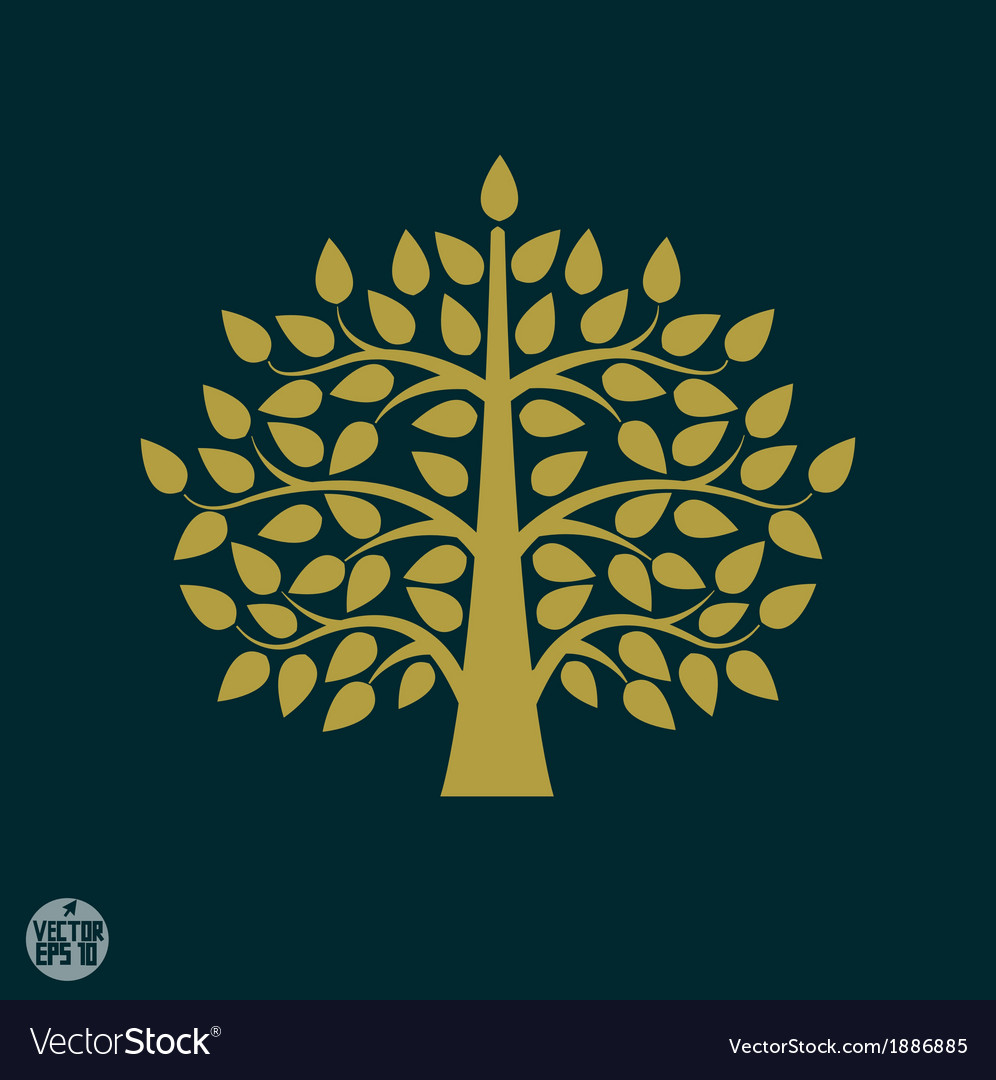 Gold tree symbol in asia style vector | Price: 1 Credit (USD $1)