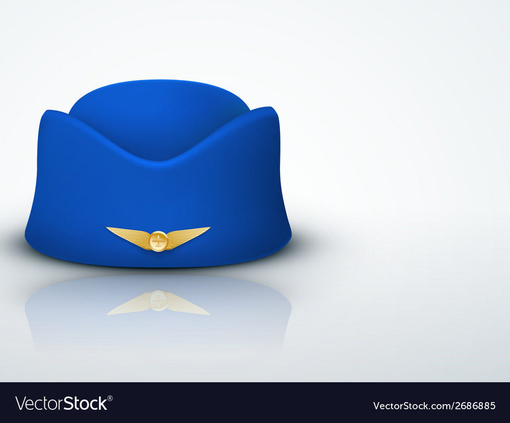 Light background stewardess hat of air hostess vector | Price: 1 Credit (USD $1)