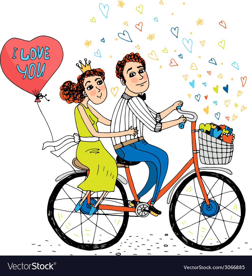 Two young lovers riding a tandem bicycle vector | Price: 1 Credit (USD $1)