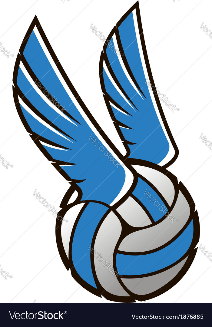 Volleyball ball with wings vector   Price: 1 Credit (USD $1)