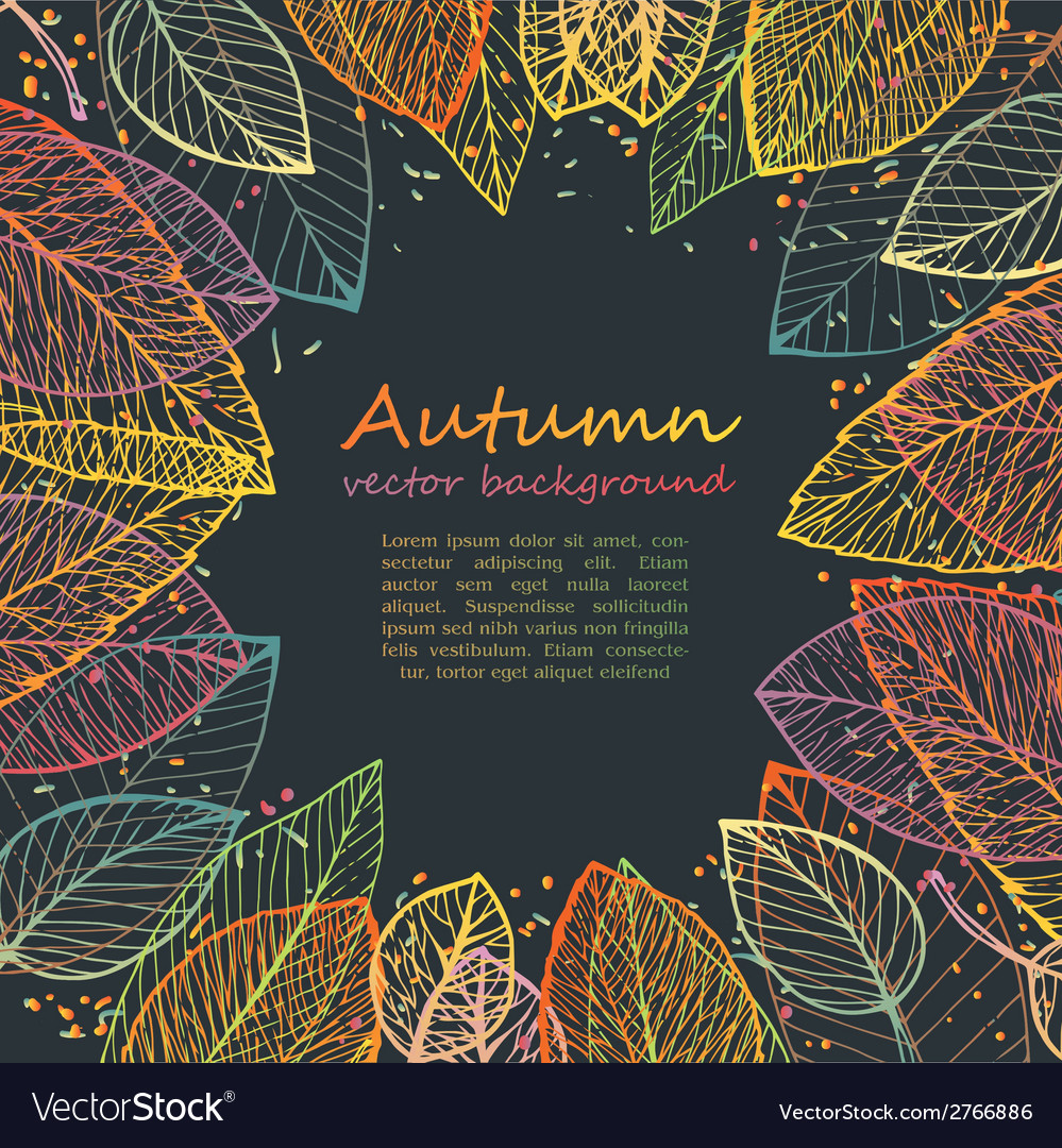 Border frame of colorful autumn leaves vector | Price: 1 Credit (USD $1)