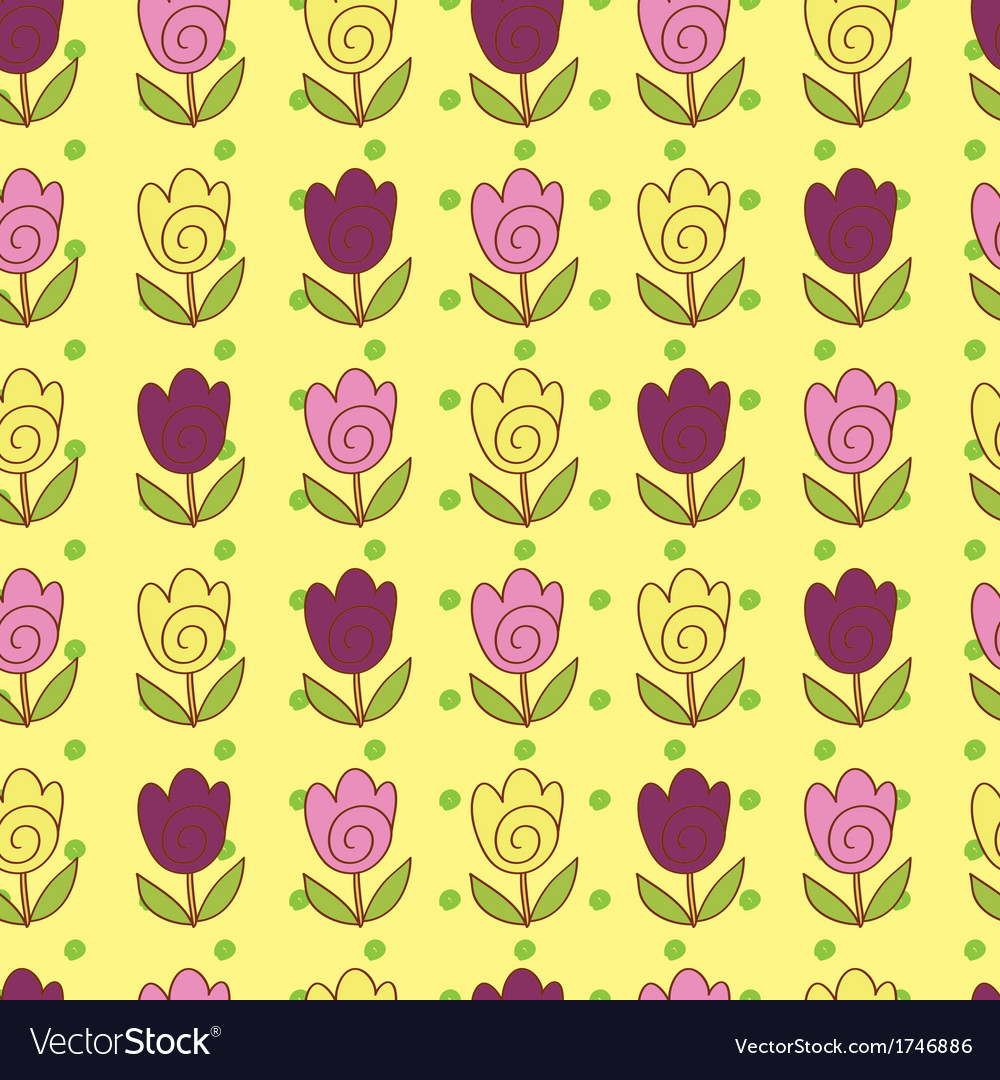 Cute tulips pattern vector | Price: 1 Credit (USD $1)
