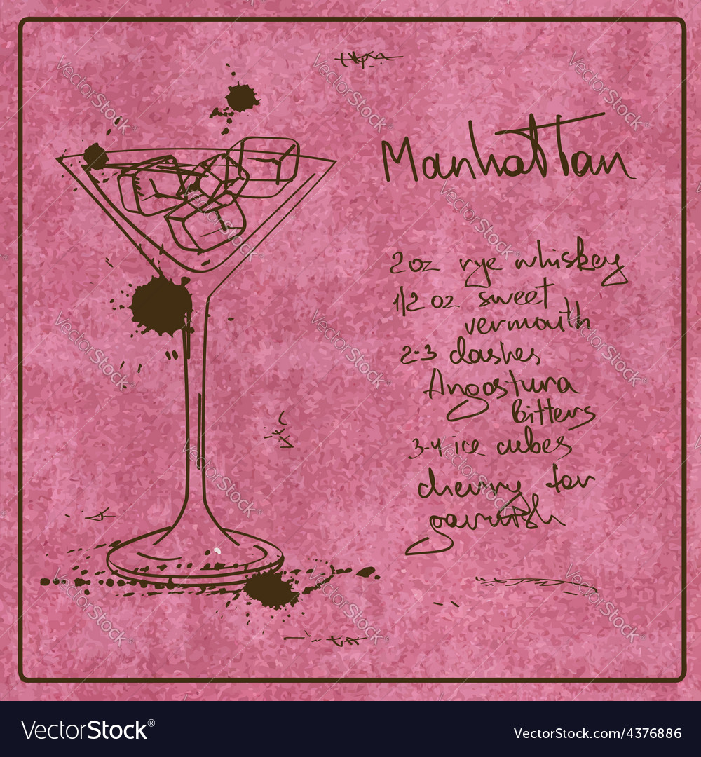 Hand drawn manhattan cocktail vector | Price: 1 Credit (USD $1)