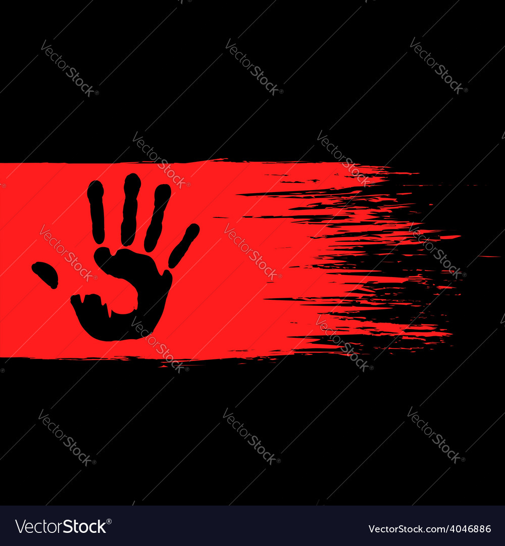 Handprint on the red paint vector | Price: 1 Credit (USD $1)