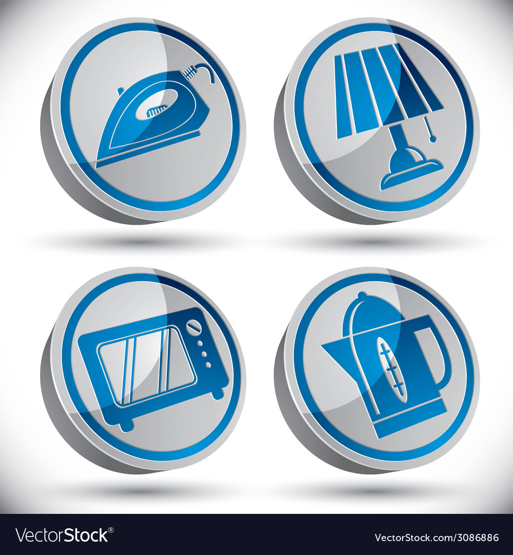 Household appliances icons set 4 vector   Price: 1 Credit (USD $1)