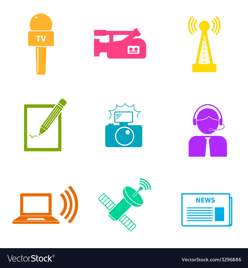 Journalism icons set vector | Price: 1 Credit (USD $1)