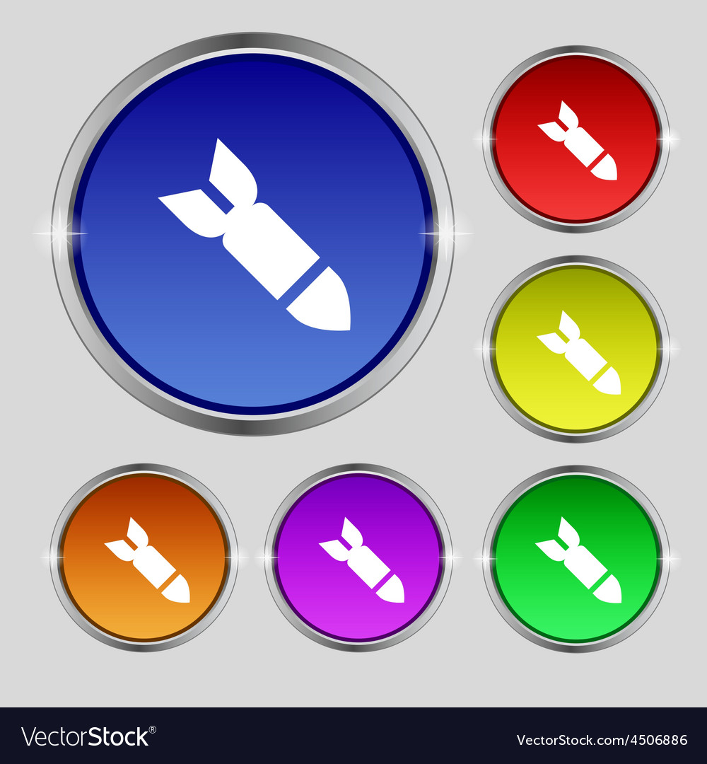 Missilerocket weapon icon sign round symbol on vector | Price: 1 Credit (USD $1)