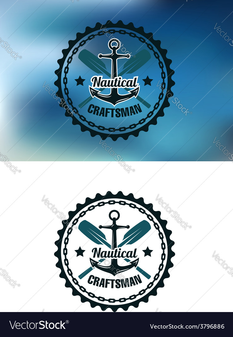 Nautical craftsman badge or emblem vector | Price: 1 Credit (USD $1)