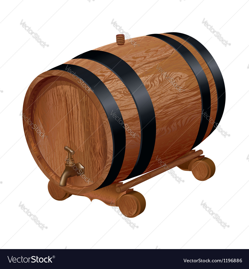 Realistic wooden barrel vector | Price: 3 Credit (USD $3)