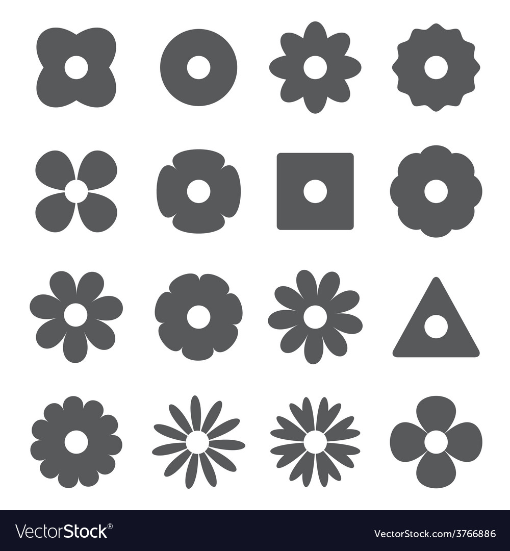 Silhouettes of flowers vector | Price: 1 Credit (USD $1)
