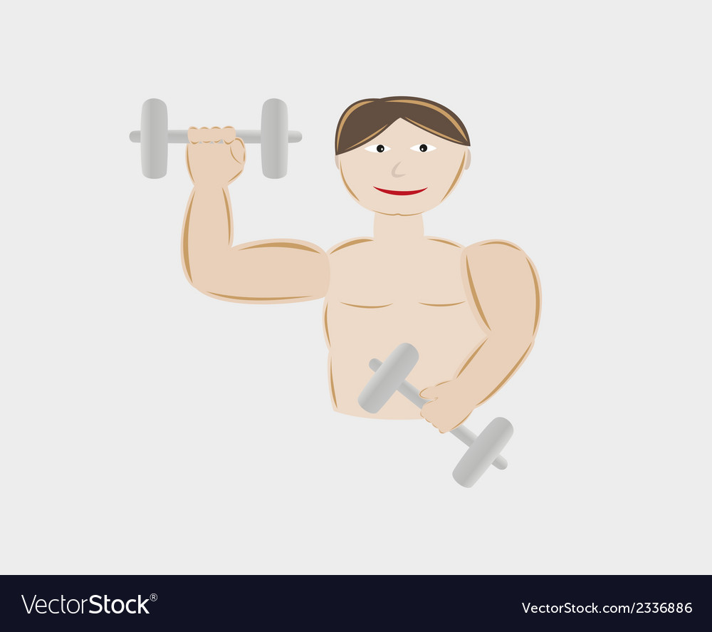 Young man body building with two dumbbells vector | Price: 1 Credit (USD $1)