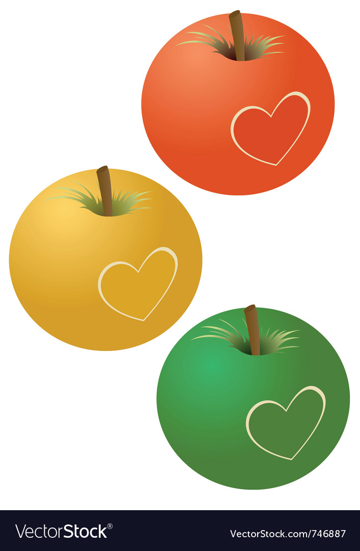 Apples with a heart vector | Price: 1 Credit (USD $1)