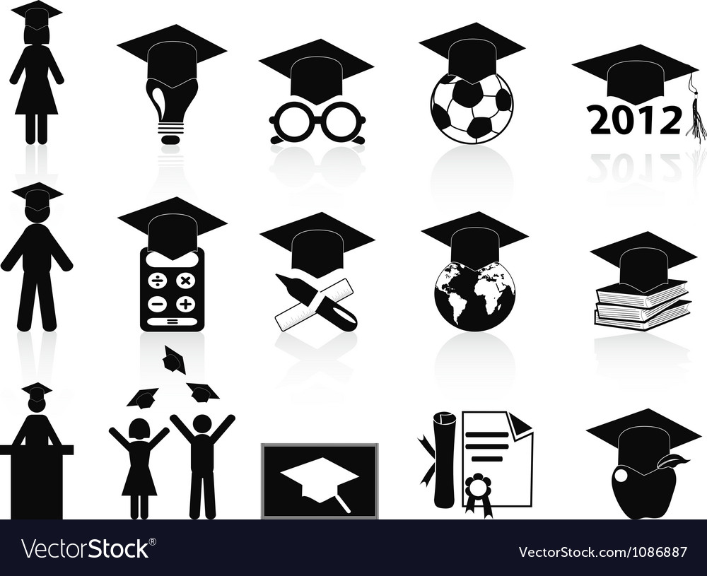 Black graduation icons set vector | Price: 1 Credit (USD $1)
