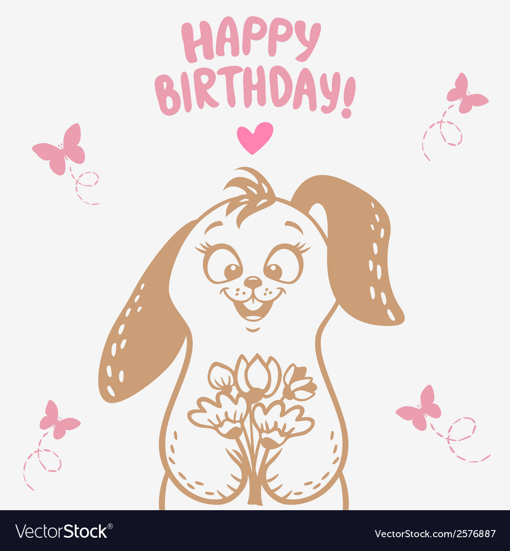 Bunny happy birthday vector | Price: 1 Credit (USD $1)