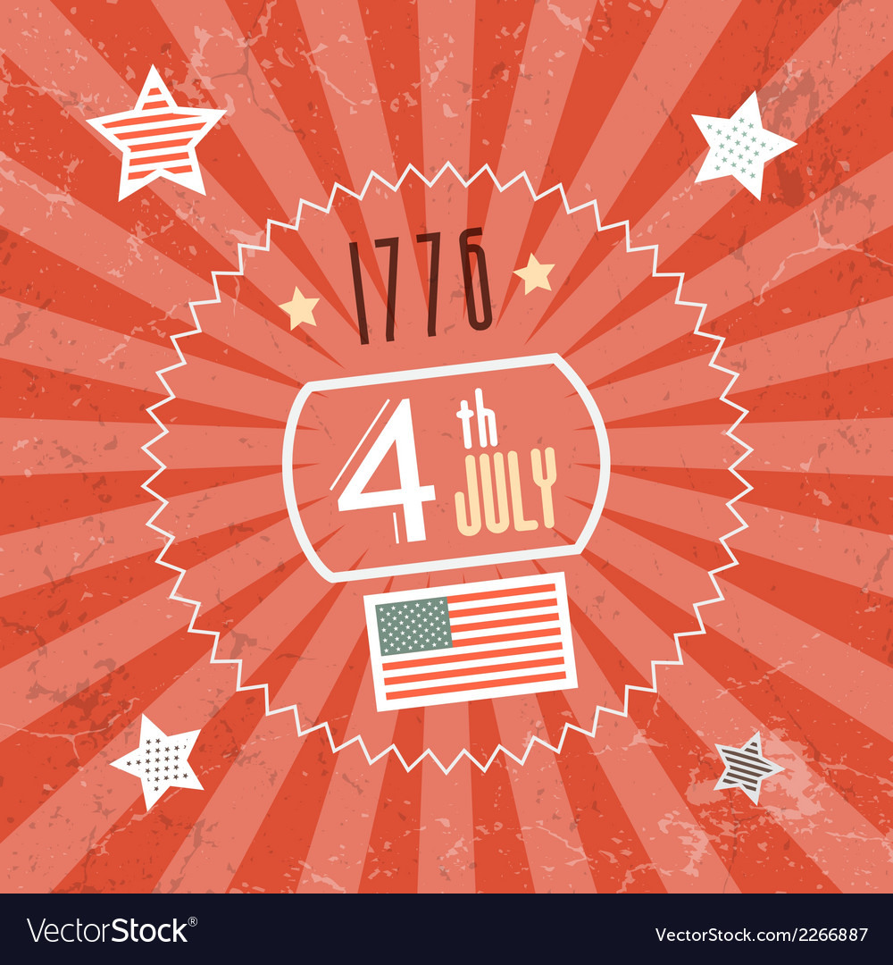 Fourth july 1776 independence day red retro vector | Price: 1 Credit (USD $1)