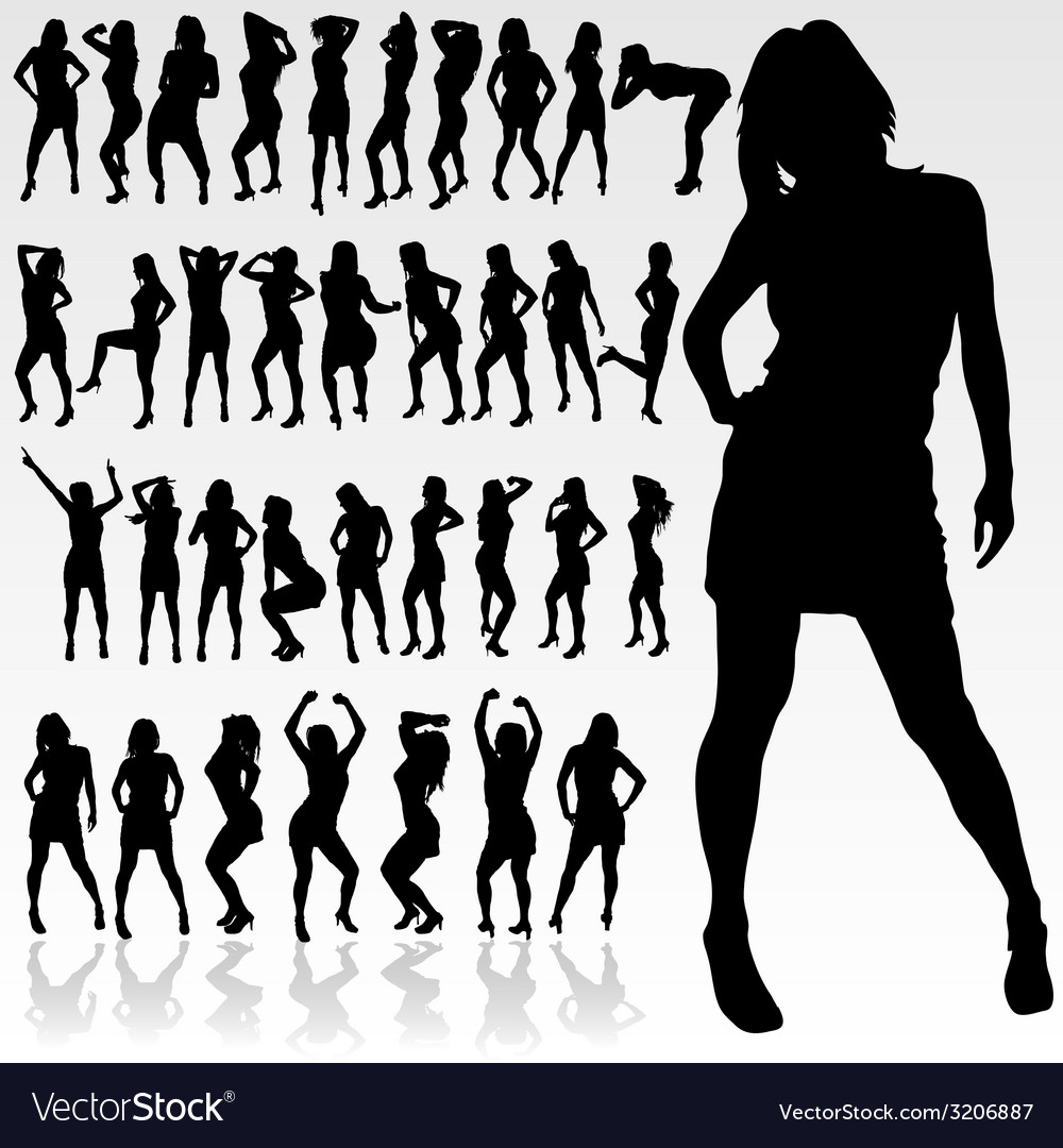 Girl silhouette in black color vector | Price: 1 Credit (USD $1)
