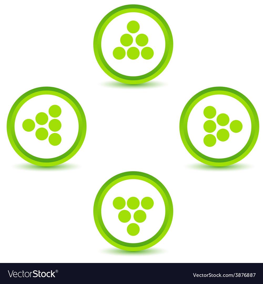Green arrows icons set vector | Price: 1 Credit (USD $1)
