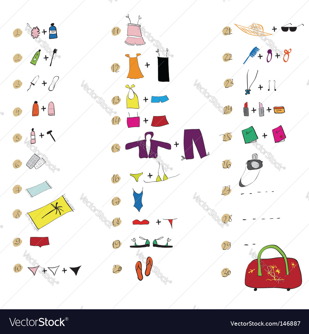 List of clothes for travel vector | Price: 1 Credit (USD $1)