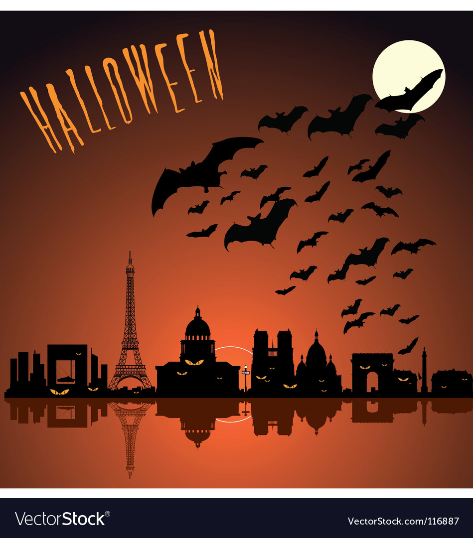 Paris halloween silhouette vector | Price: 1 Credit (USD $1)