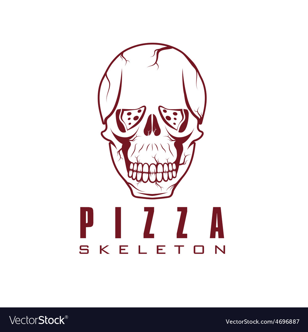 Skull with slice of pizza vector | Price: 1 Credit (USD $1)