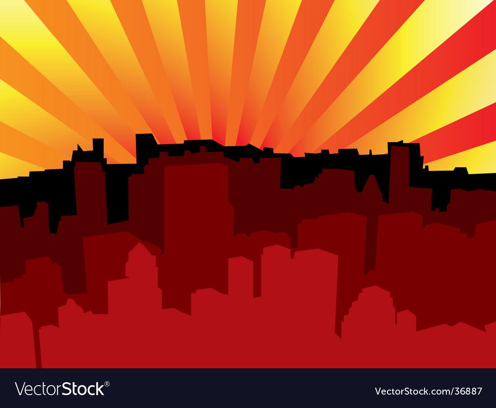 Sunrise city scape vector | Price: 1 Credit (USD $1)