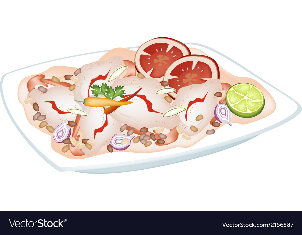 Thai spicy shrimp salad on a plate vector | Price: 1 Credit (USD $1)