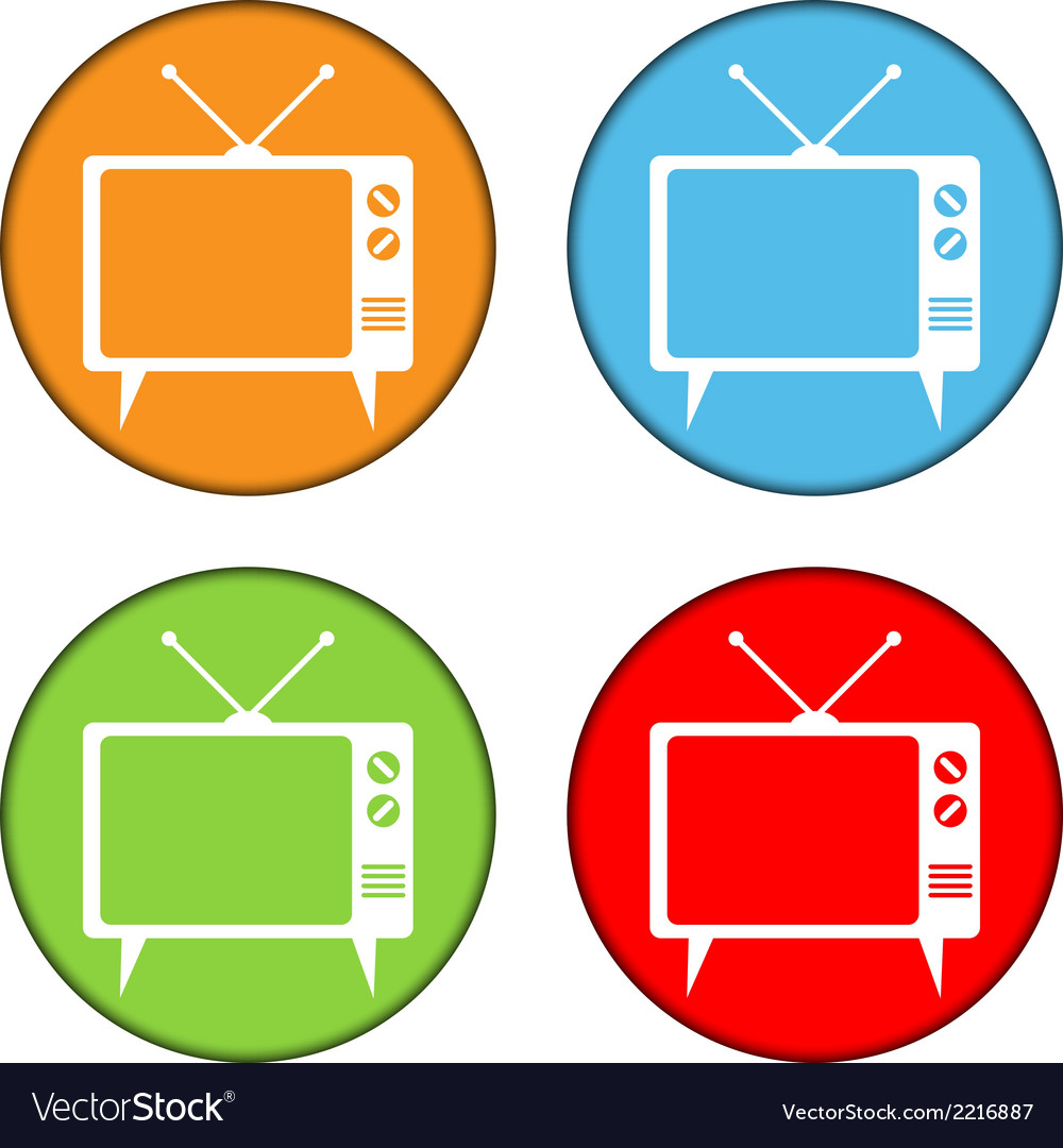 Tv button set vector | Price: 1 Credit (USD $1)