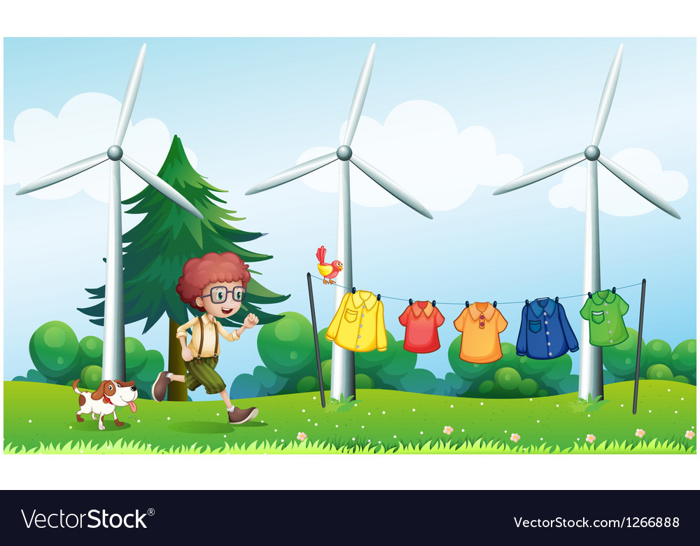 A boy running at the hill with hanging clothes vector | Price: 1 Credit (USD $1)