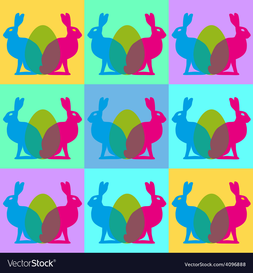Easter background with hares vector