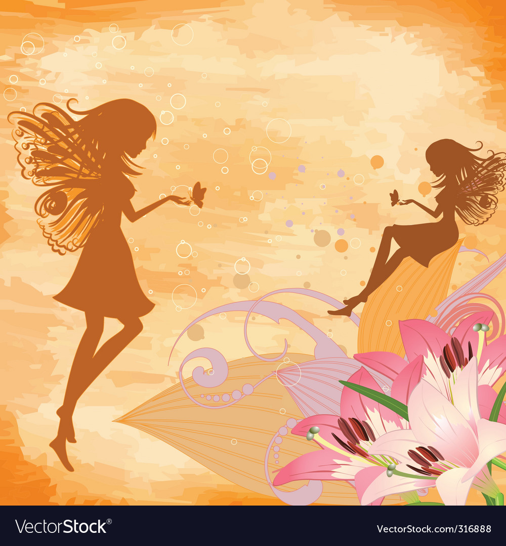 Flower fairies vector | Price: 1 Credit (USD $1)