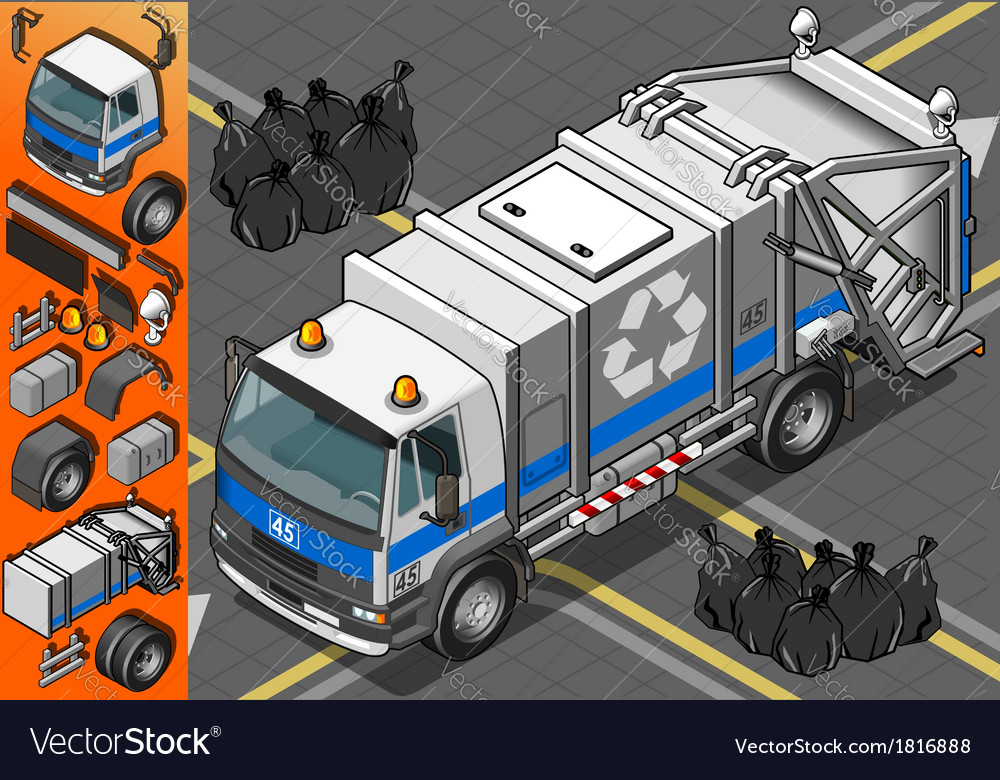 Isometric white garbage truck in front view vector | Price: 1 Credit (USD $1)