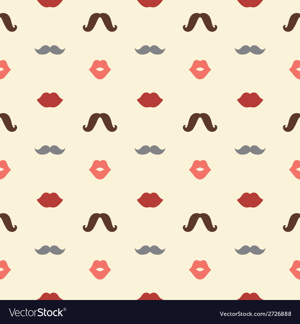 Lips and mustaches seamless pattern vector | Price: 1 Credit (USD $1)