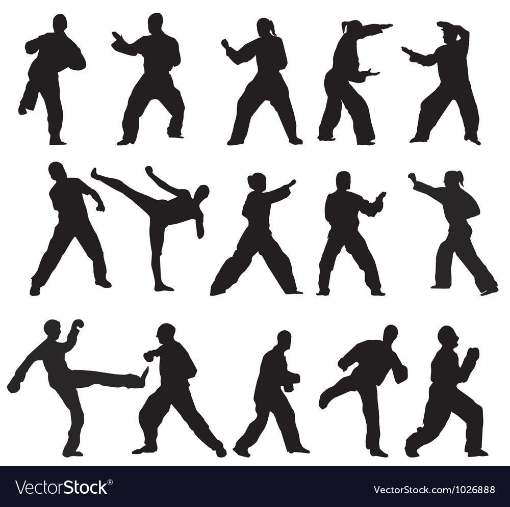 Martial art poses vector | Price: 1 Credit (USD $1)