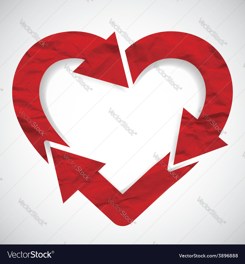 Paper arrow heart valentines day vector | Price: 1 Credit (USD $1)