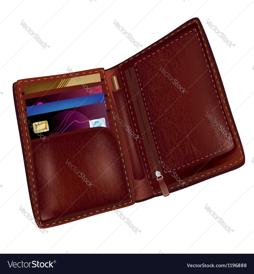 Realistic brown leather wallet vector | Price: 3 Credit (USD $3)