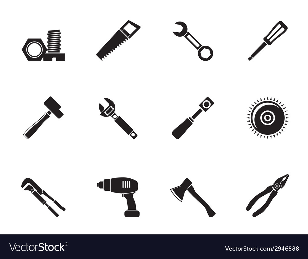 Silhouette different kind of tools icons vector | Price: 1 Credit (USD $1)