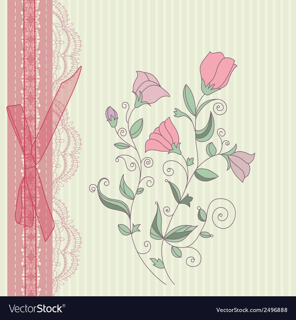 Vintage floral card background vector | Price: 1 Credit (USD $1)