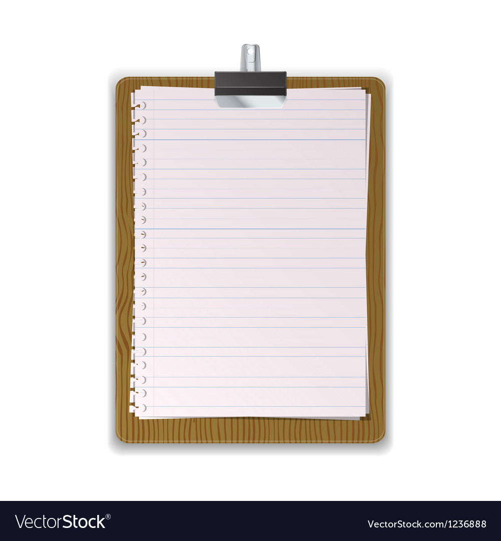 Wooded clipboard with lined paper vector | Price: 1 Credit (USD $1)