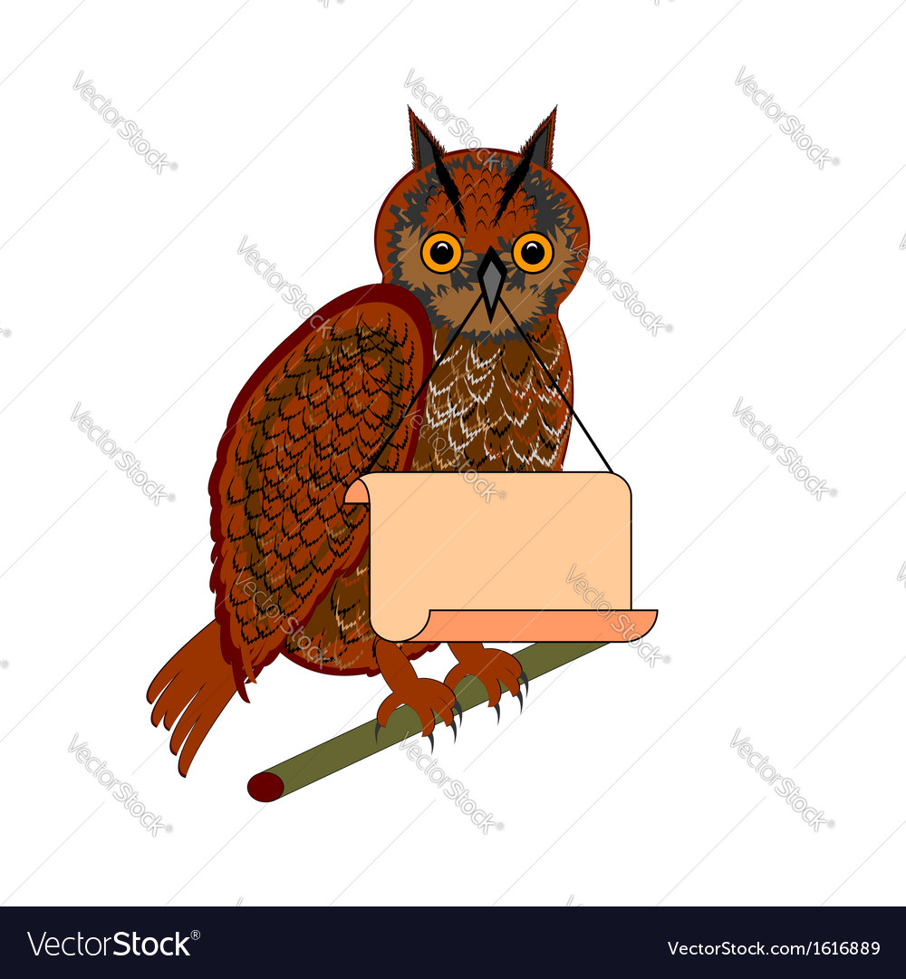 An owl holding a big blank paper in his beak vector | Price: 1 Credit (USD $1)