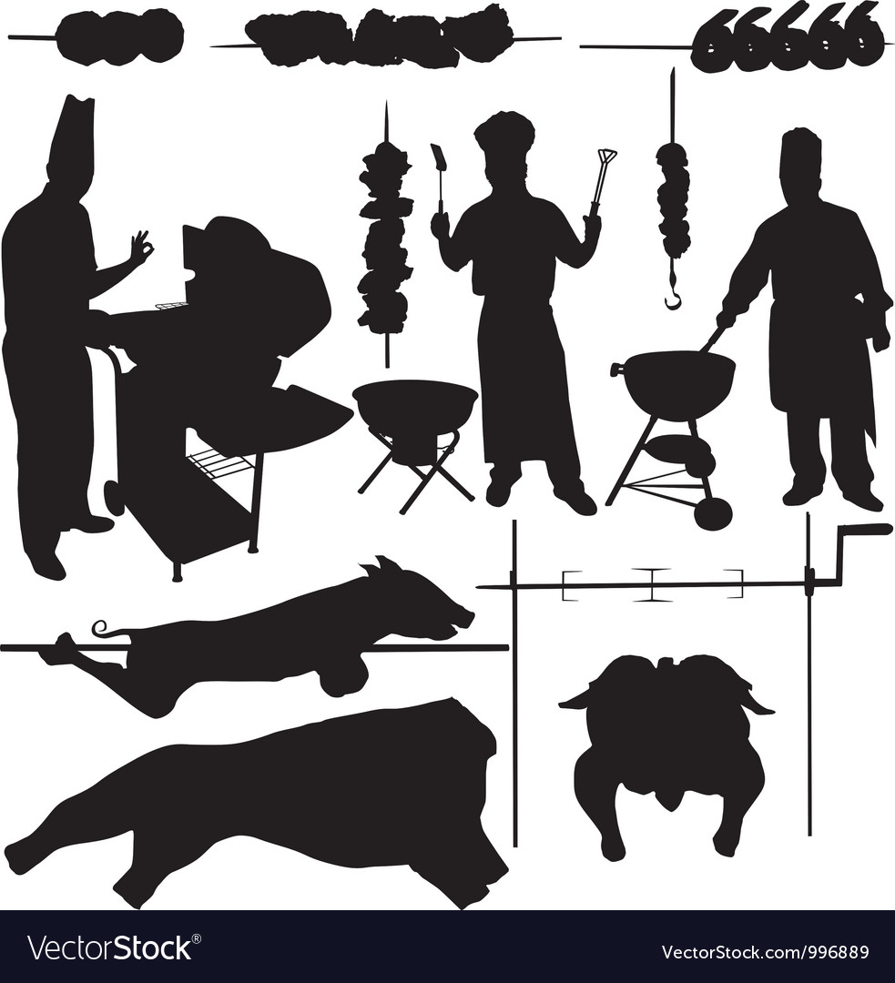 Bbq barbecue related items silhouettes vector