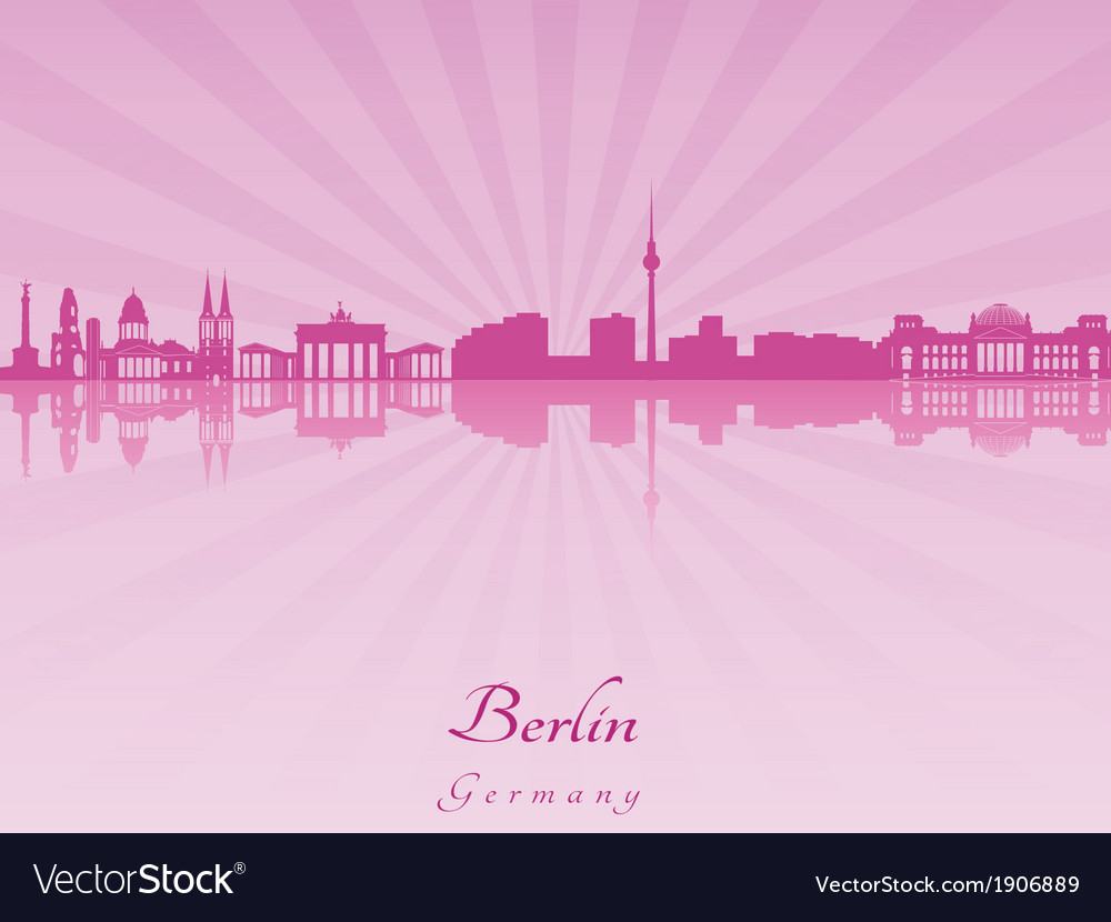 Berlin skyline in purple radiant orchid vector | Price: 1 Credit (USD $1)
