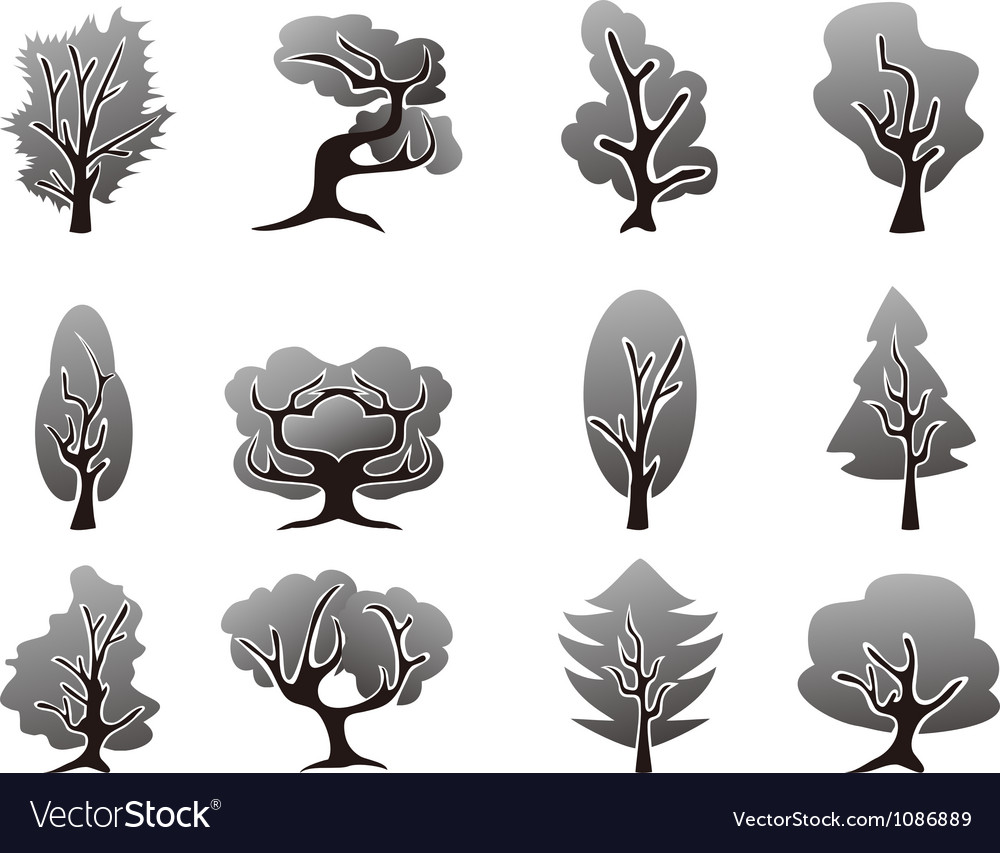 Black tree icons set vector | Price: 1 Credit (USD $1)