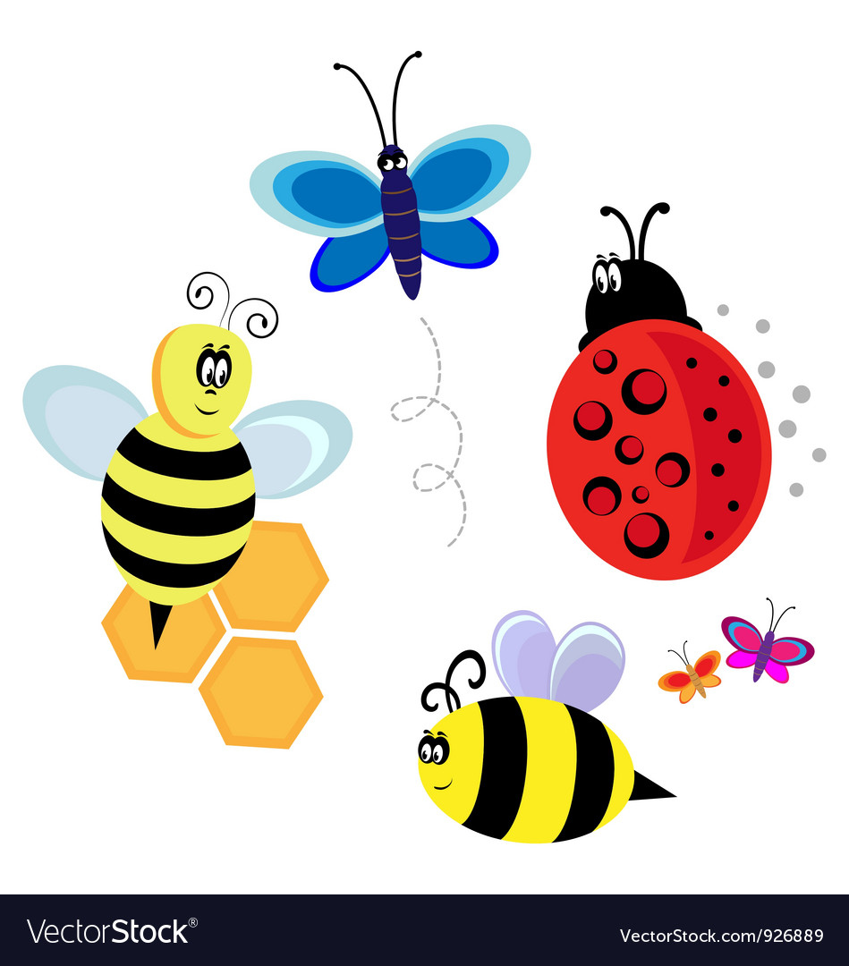 Characters bugs bee and butterfly vector | Price: 1 Credit (USD $1)