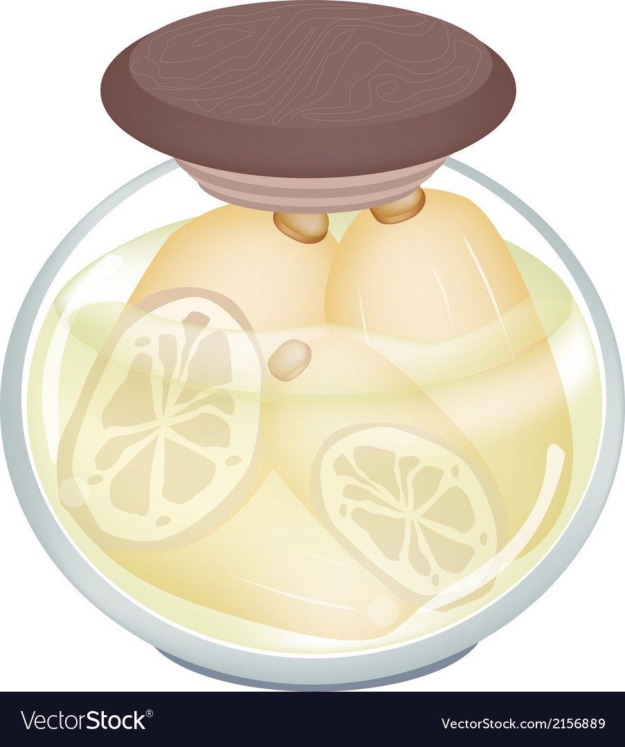 Delicious pickled lotus root in a jar vector | Price: 1 Credit (USD $1)