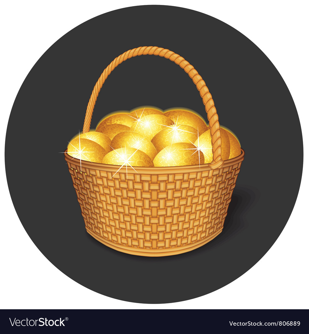 Easter basket with gold eggs vector | Price: 3 Credit (USD $3)