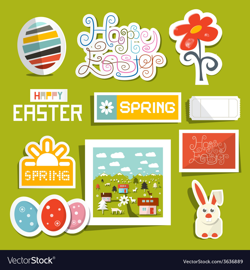 Easter symbols - objects set vector | Price: 1 Credit (USD $1)