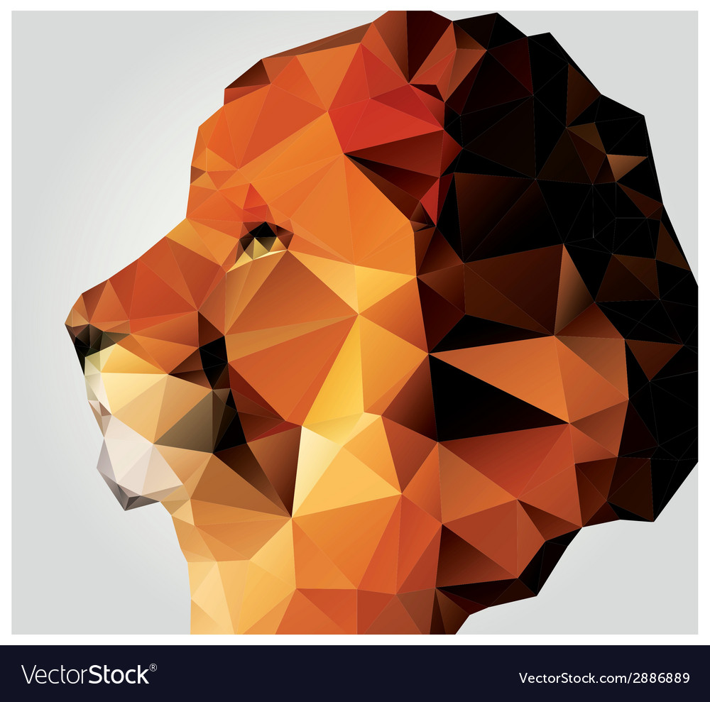 Geometric polygon lion head triangle pattern vector | Price: 1 Credit (USD $1)