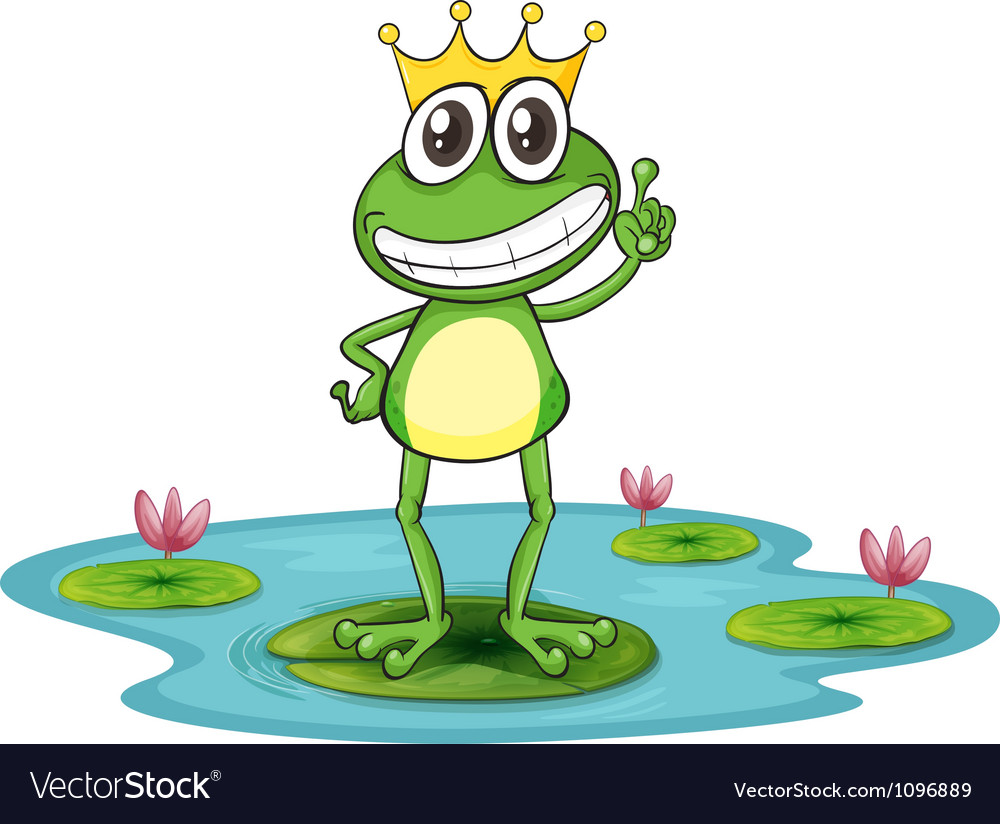 Happy king cartoon frog vector | Price: 1 Credit (USD $1)