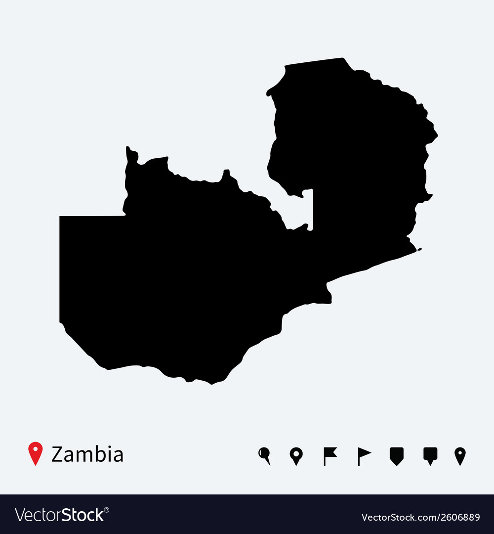 High detailed map of zambia with navigation pins vector | Price: 1 Credit (USD $1)