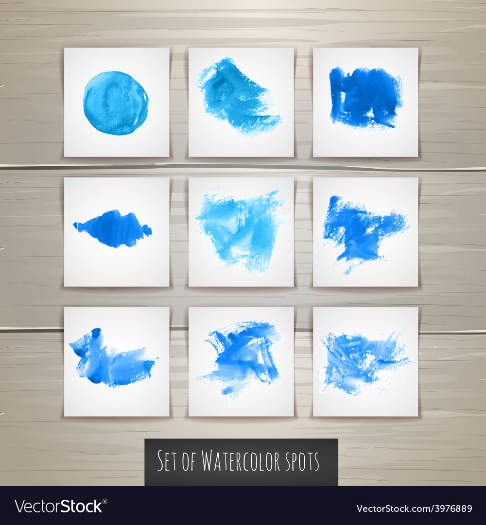 Set of bright blue watercolor brush strokes vector | Price: 1 Credit (USD $1)